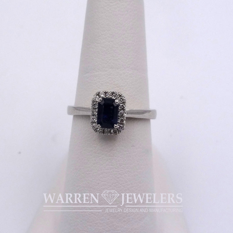 .64ct Blue Sapphire and Diamond Halo Ring