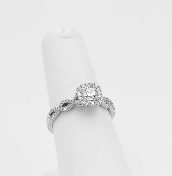 .77ctw White Gold Halo Diamond Ring with Braid Detail