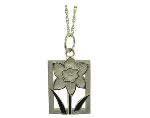 Daffodil Tile Floral Motif Jewelry Collection 14K Gold Pendant-Large