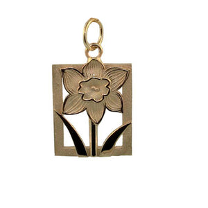 Daffodil Tile floral motif yellow Gold Charm-Large from Warren Jewelers