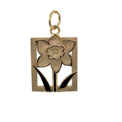 Daffodil Tile Gold Charm- Extra Large at Warren Jewelers