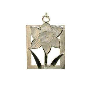 Daffodil Tile Floral Motif Gold Charm- Extra Large from Warren Jewelers