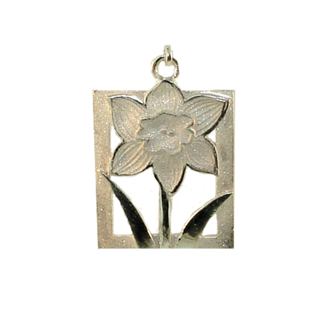 Daffodil Tile Floral motif White Gold Charm-Large at Warren Jewelers