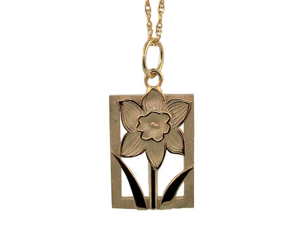 Daffodil Tile 14K Gold Pendant-Extra Large