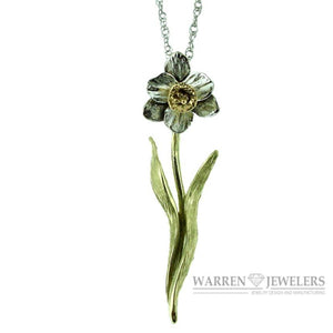 Daffodil 14K White Gold and Yellow Gold Floral Pendant Necklace