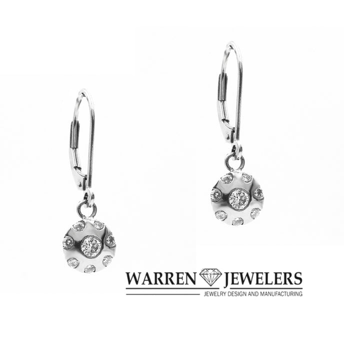 1/2ctw Round Diamond Earrings Modern Halo Shape Diamond Dangles in White Gold