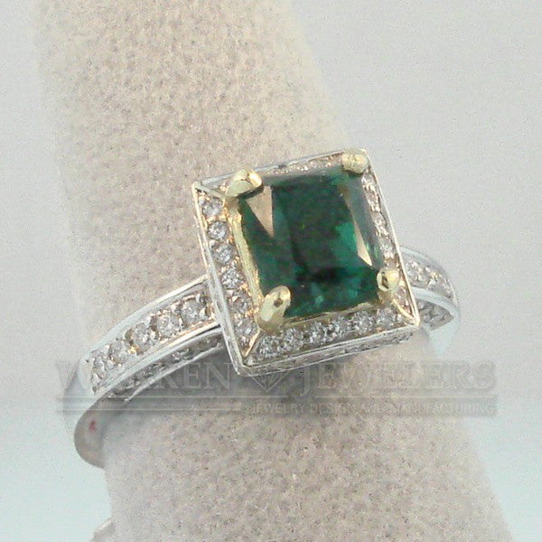 1.30ct Emerald and Diamond Ring from Warren Jewelers