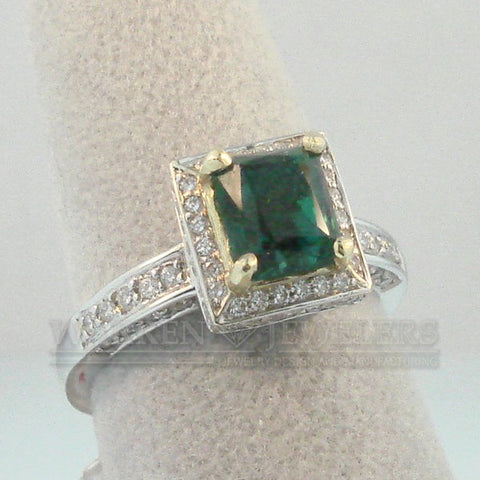 1.30ct Emerald and Diamond Ring