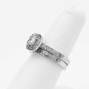 1.00ctw Cushion Cut Diamond In Halo Style Engagement Wedding Ring Set