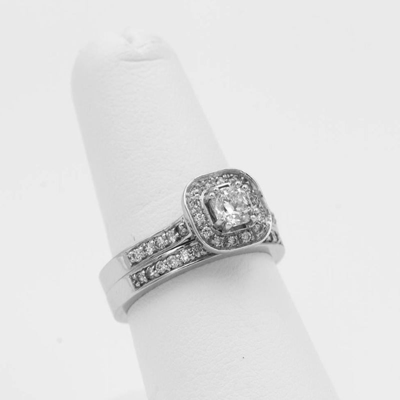 .51ctw Cushion Halo Diamond Ring Wedding Set