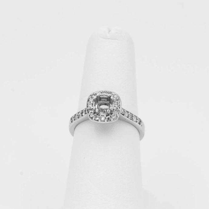 1/3ctw Diamond Halo Engagement Wedding Ring Mounting14K White Gold