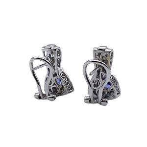 Natural Tanzanite and Diamond Trillion Cut 14K White Gold Earrings