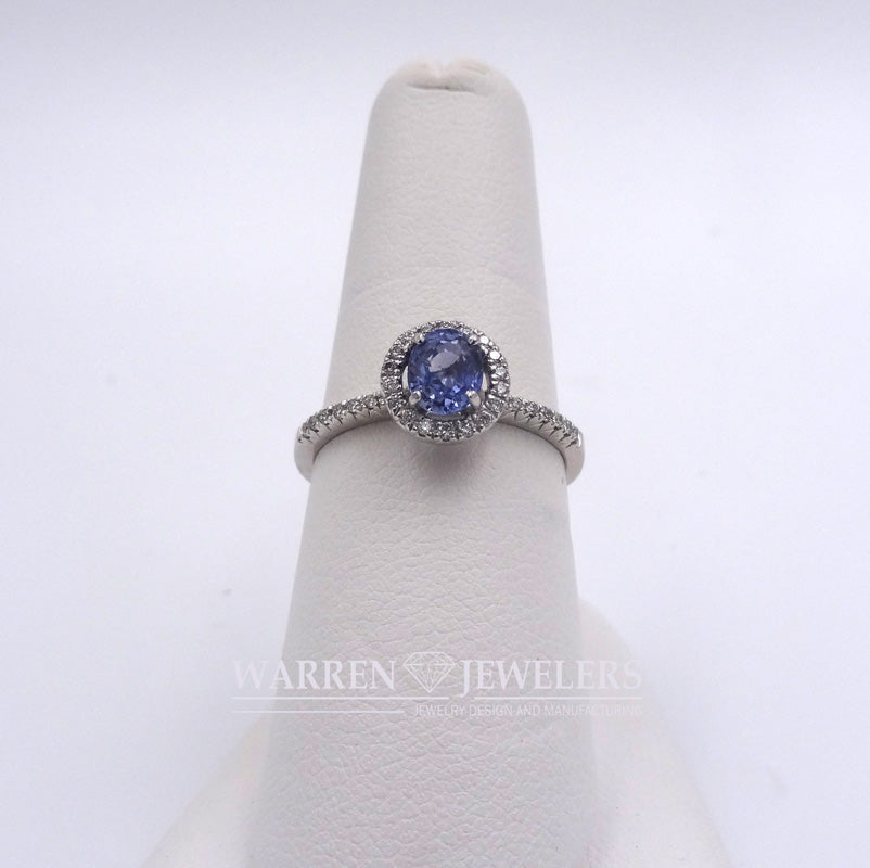 Blue Sapphire and Diamond Halo 14K White Gold Ring .82ct