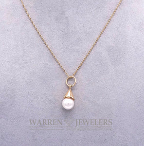 Cultured White Round Pearl Pendant Necklace 14K Yellow Gold