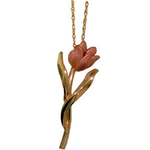 Petite Pink Diamond Tulip Pendant in Pink and Yellow Gold