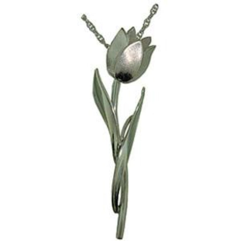 Pink Diamond Tulip Flower Pendant Necklace Sterling Silver