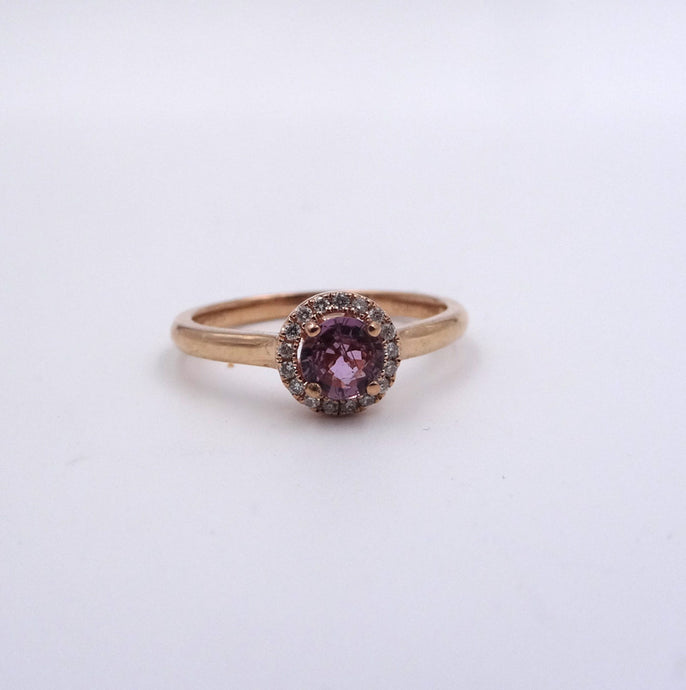 Pink Sapphire and Diamond Halo Ring .38ct Sapphire 14K Rose Gold