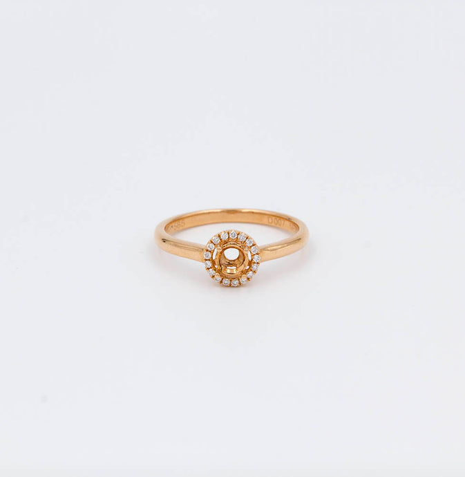 .07ctw 14K Yellow Gold Diamond Halo Ring Mounting