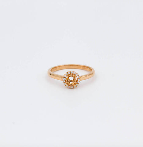 .07ctw Rose Gold Halo Ring Mounting