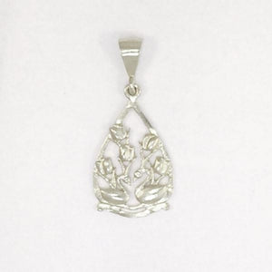 Two Swans and Tulips Floral Charm in Sterling Silver