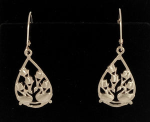 Two Swans Tulip Floral Earrings in 14K White Gold