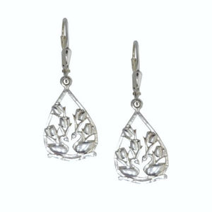 Two Swans Tulip Floral Earrings in  Sterling Silver