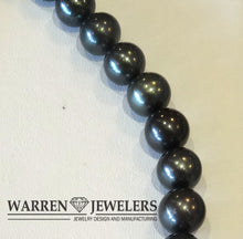 Tahitian Natural Black Pearl Strand Necklace 19 inches Custom Pearl Clasp