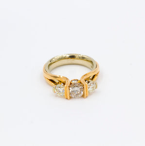 2.18ctw Two Tone Rose Gold and Yellow Gold Three Stone Diamond Ring