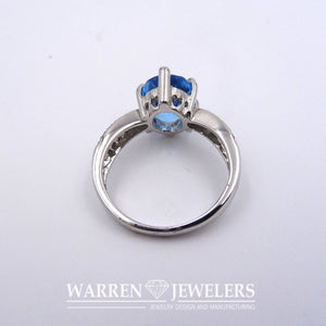 Blue Topaz Natural Oval Gemstone and White Ladies Diamond Ring