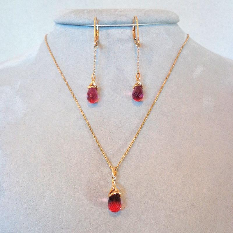 Pink Tourmaline Necklace and Earrings