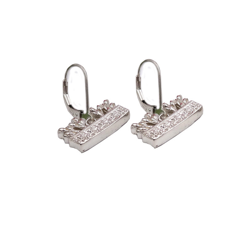 Tulip Basket Floral Motif Earrings Sterling Silver 925