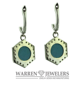 Blue Turquoise and 1/3 carat Diamond Dangle Earrings