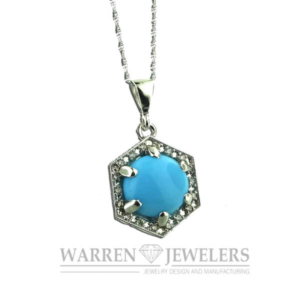 Turquoise Blue and Diamond Pendant Necklace Natural Untreated 14K White Gold
