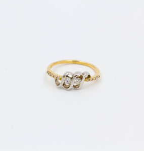 1/4 ctw Two Diamond Yellow Gold and White Gold Ring