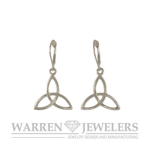 Celtic Trinity Earrings 14K Yellow Gold White Gold or Sterling Silver