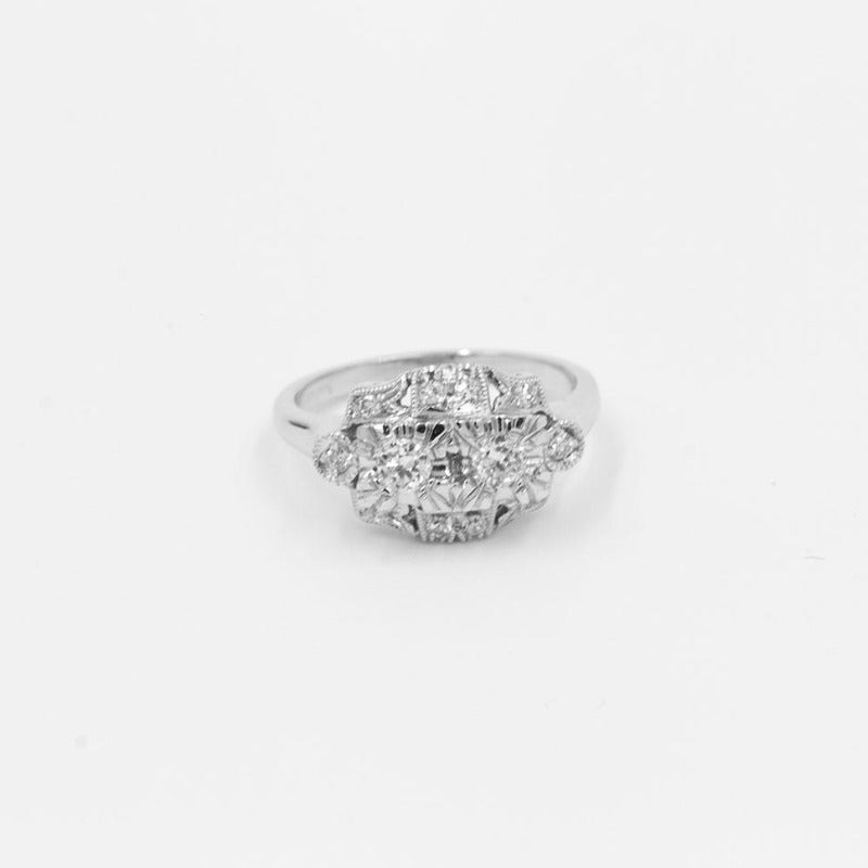 Vintage .41ctw 14k White Gold European Cut diamond Ring