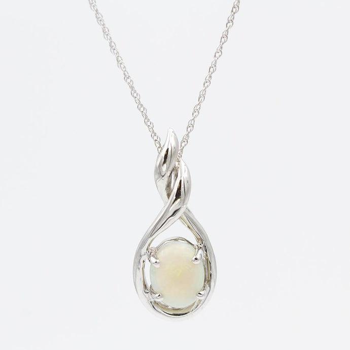 Bright Opal Oval Pendant Necklace 14k White Gold
