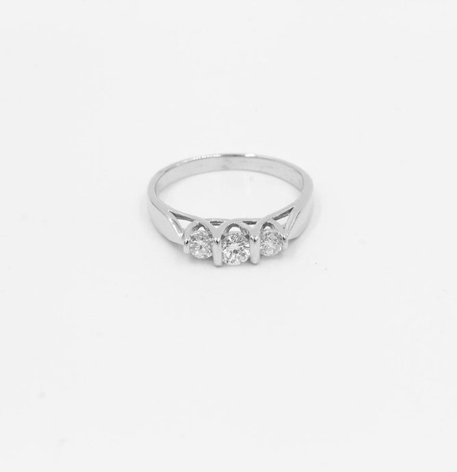 -Stone White Gold Diamond Engagement Wedding Anniversary Ring 1/2ctw