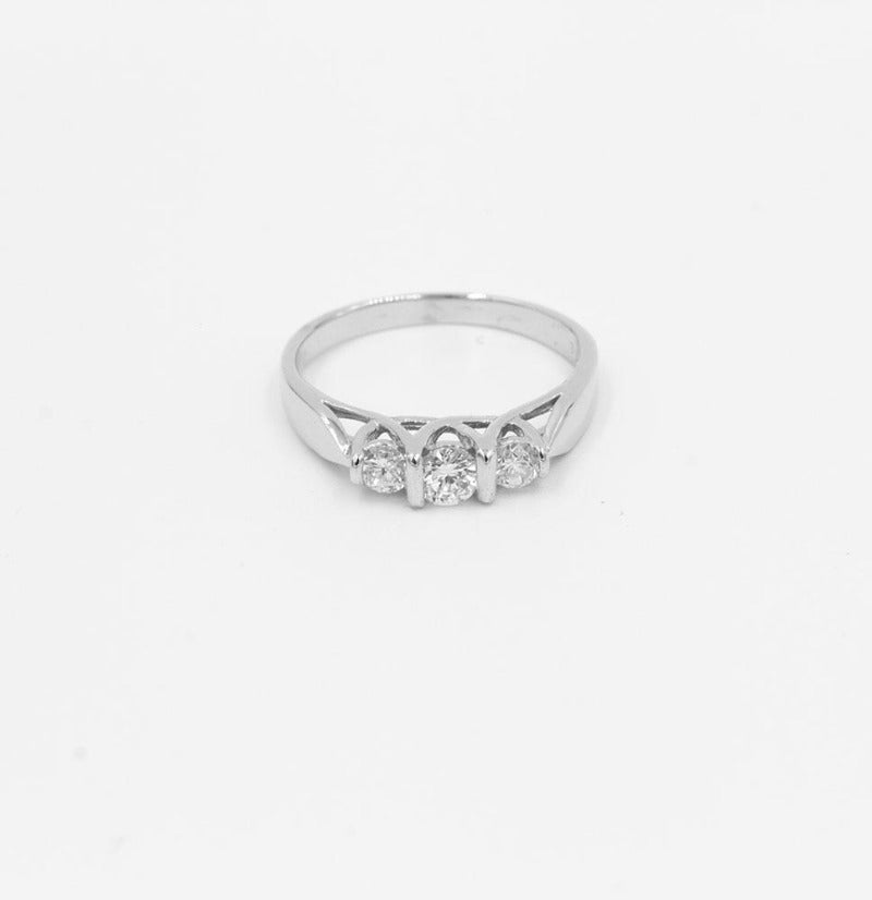 3-Stone White Gold Diamond Ring 1/2ctw