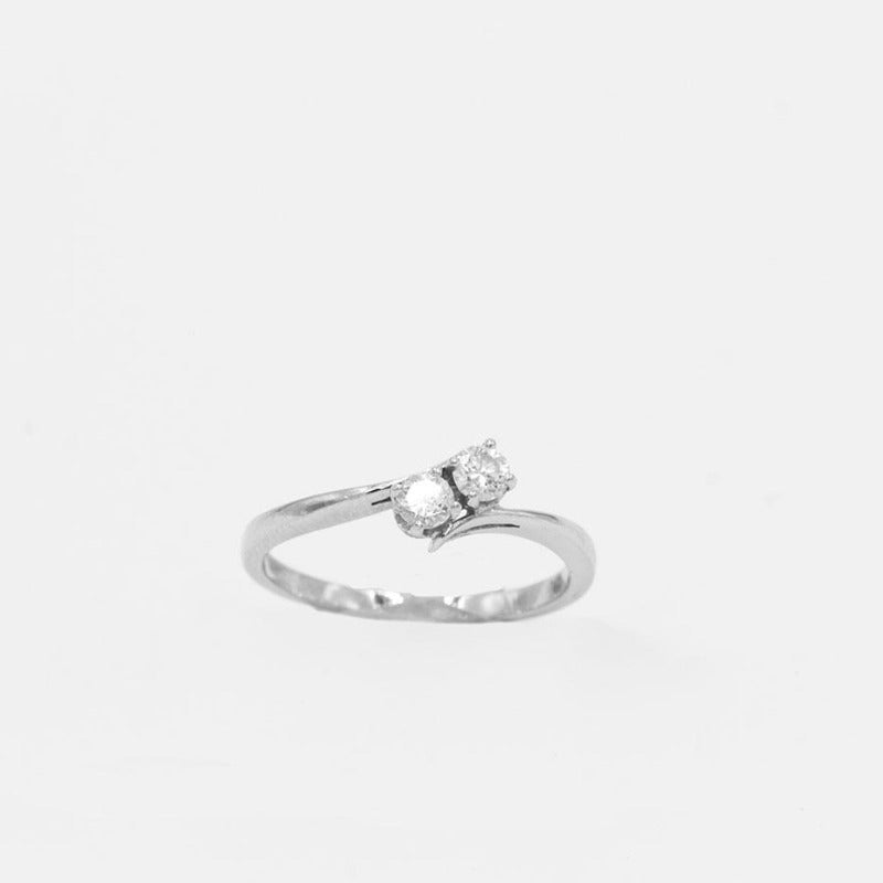 2-Stone Diamond Engagement Anniversary Ring 14K White Gold 1/4ctw