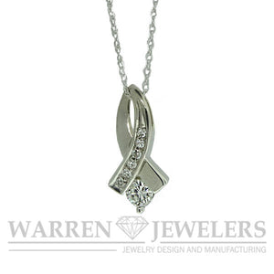 1/5ct White Gold Ribbon Pendant