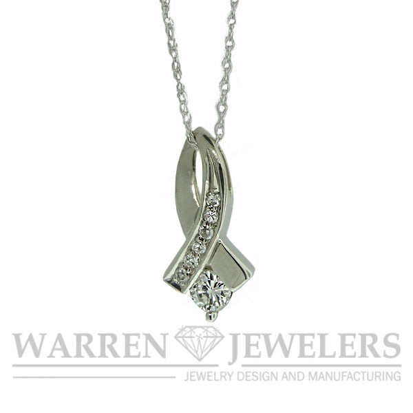Diamond Ribbon Pendant Necklace 14K White Gold