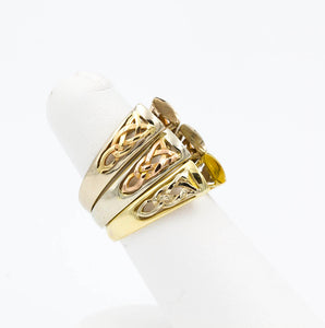 14k Yellow and White Gold Celtic Weave Ring Mounting