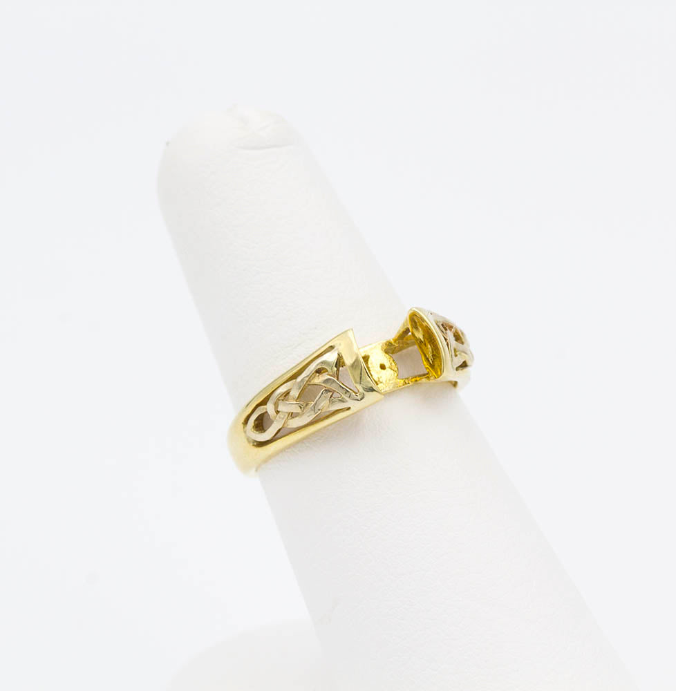 14k Yellow and White Gold Celtic Ring Mounting
