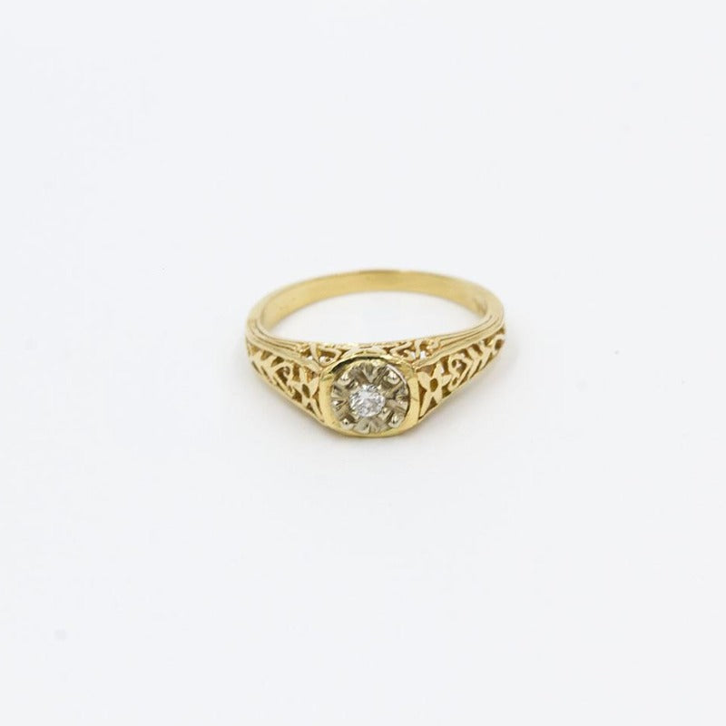 intage .07ct Old European Cut Diamond Estate Engagement Ring 14K Yellow Gold