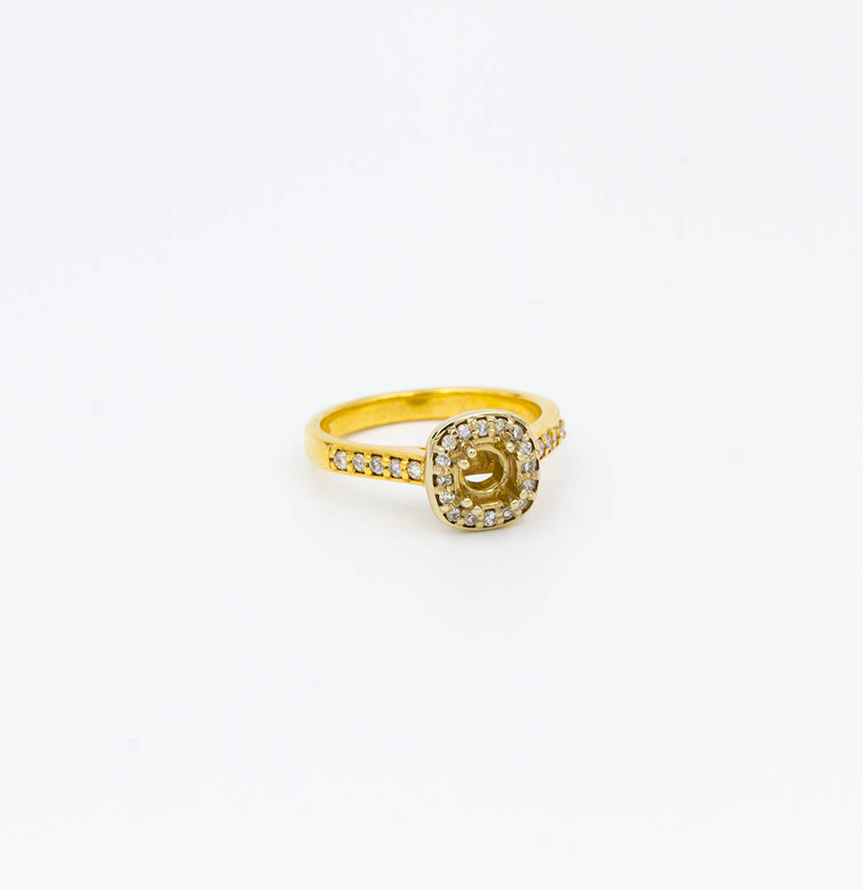 1/5ctw Yellow Gold Halo Engagement Ring Mounting