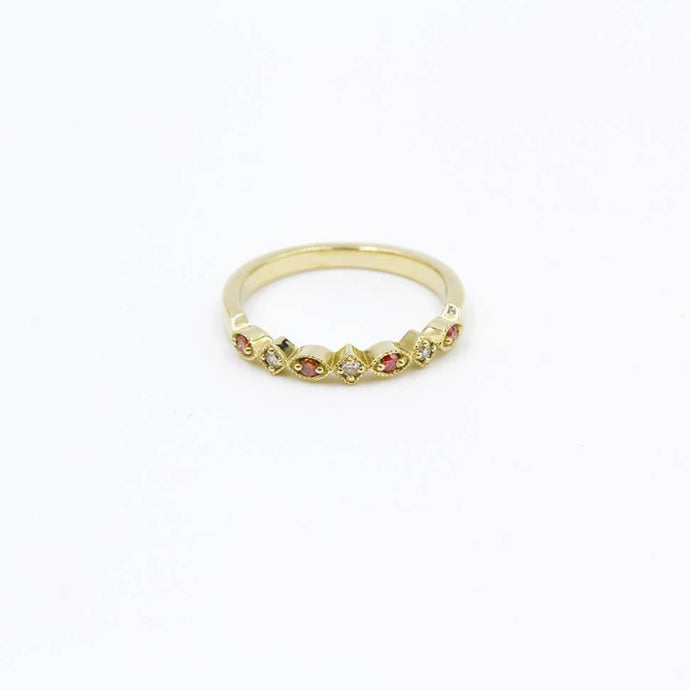 Pink Diamond 14K Yellow Gold Stackable Band .12ctw