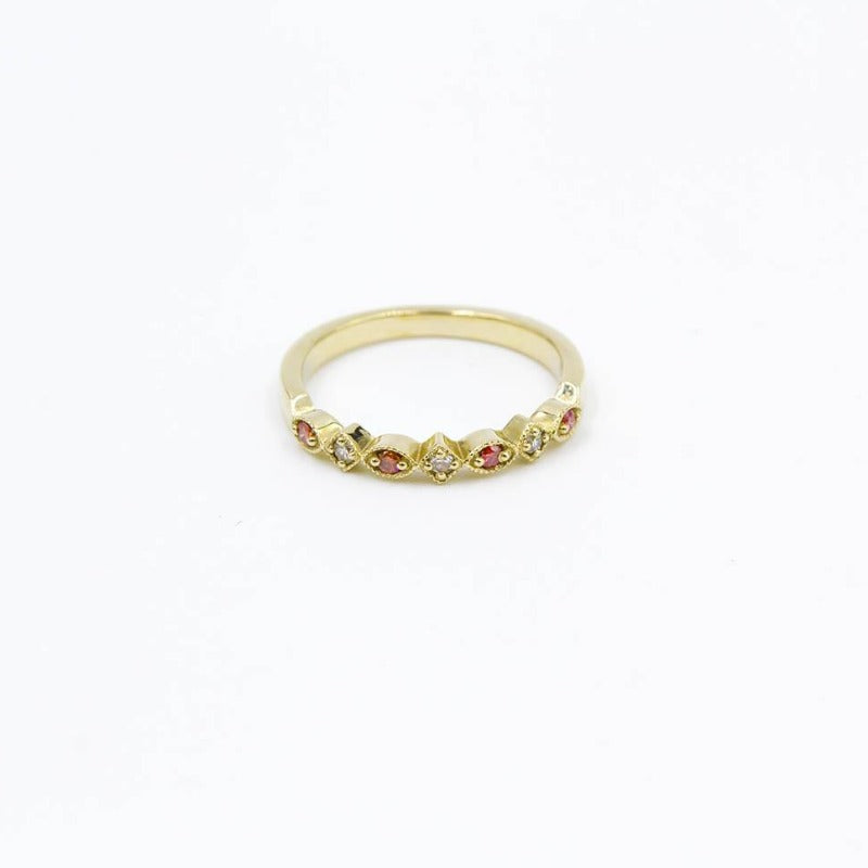 Pink Diamond 14K Yellow Gold Stackable Ring Band .12ctw