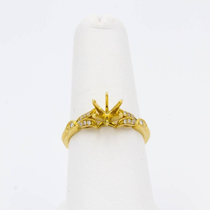 Ladies Engagement Wedding Ring Mounting 18k Yellow Gold