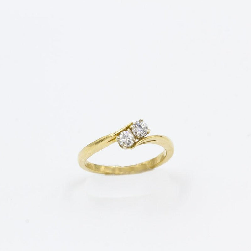 2-stone Diamond Engagement Fashion Ring 14K Yellow Gold 1/4 ctw